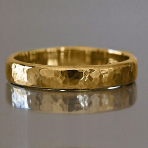 18 Kt Real Solid Yellow Gold Wedding Men'S Rustic Classic Band Ring 6 Grams 4MM