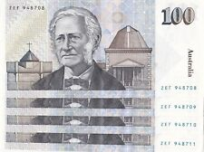 Australian 100 dollar notes 4 Consecutive ZEF 948708 - ZEF 948711 aUNC - UNC