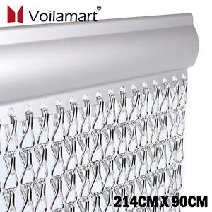 Aluminum Door Curtain Metal Chain Fly Insect Blinds Screen Pest Control 214*90cm