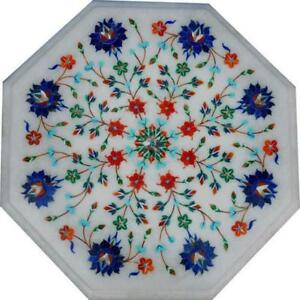 2' White Marble Table Top center Coffee dining Inlay pietra dura Mosaic qfg