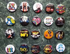 "The 80s 20 X 1"" Button Badges Set 3 Fancy Dress Retro Vintage 1980s Eighties"