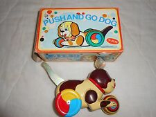 Vintage PUSH AND GO DOG WIND UP TIN With Box 1960's