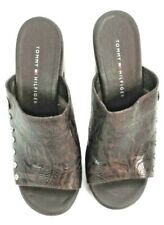 Tommy Hilfiger Womens Wedge Slip On Sandals Brown Leather size 8.5 M
