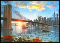 Brooklyn Bridge Sunset - Chart Counted Cross Stitch Patterns Needlework DIY