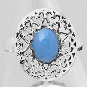 Natural Blue Chalcedony 925 Sterling Silver Ring s.8 Jewelry E286