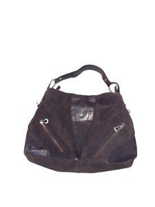 Via Spiga Brown Cow Leather Suede Hobo Travel Shoulder Bag Purse Metal Buckle