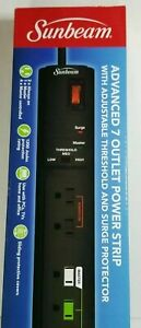 NEW SUNBEAM Advanced 7 Outlet Power Strip Plugs With Surge Protector. Free Ship