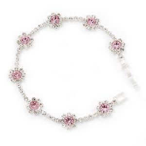Pink/Clear Swarovski Crystal Floral Bracelet In Rhodium Plated Metal - 17cm