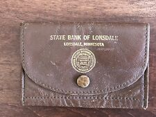 "Vintage State Bank of Lonsdale, MN Coin Purse Brown Leather 4x2.75"" Snap Gusset"