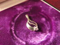 Schöner 925 Silber Anhänger Zirkonia Wie Diamant Solitär Modern Vintage