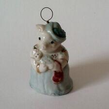 Vintage Handcrafted art pottery porcelain bell figurine Mrs. Pigg. 1985