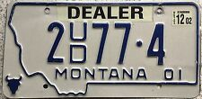 GENUINE American 2001 Montana Dealer USA License Licence Number Plate 2 77 4