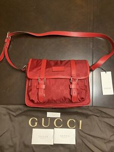 New Gucci Nylon Leather Medium GG Guccissima Red Messenger Bag