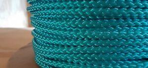 """3/16"""" x 265 ft. Diamond Braid MFP rope hank . Teal. US Made"""