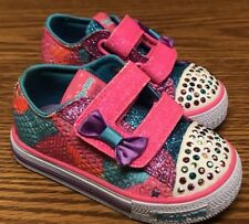 Skechers Twinkle Toes Shuffles Starlight Pink Blue White Light Sneakers 5T NEW