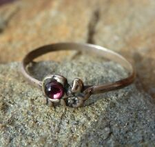 Antique  Sterling Silver Tiny Ruby - Red Cabochon Stacker Vintage Ring