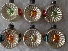 6 SHINY BRITE WAR ERA PATRIOTIC STAR INDENTS WW2 XMAS Ornaments SIX by CORNING