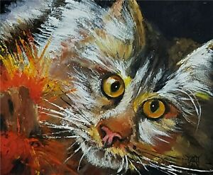 YARY DLUHOS ORIGINAL OIL PAINTING Cat Feline Pet Kitten Animal Eyes Whiskers A
