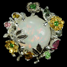 NATURAL AAA RAINBOW OPAL & TOURMALINE STERLING 925 SILVER FLOWER RING SIZE 7.25