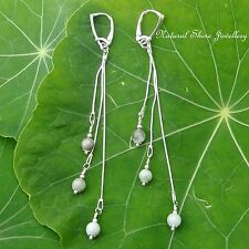 Dangle Chain Earrings Lever-back 11.1 CTW Jadeite Jade Sterling Silver 6 @ 6mm