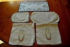 VARIOUS SIZE EMBROIDERED ITEMS ~ LOT OF 5 ~ LOT #QQ (SOME HOLES & STAINS)
