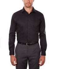 Van Heusen Men's Dress Shirt Regular Fit Flex Collar Solid, Black, 16.5, 34-35