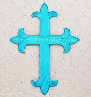 Iron On Applique Embroidered Patch Religious Fleur de lis Cross Tropical Blue