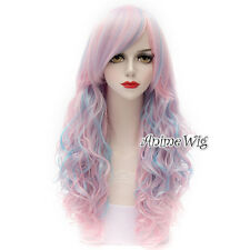 Lolita 65CM Pink Mix Blue Long Curly Hair Ombre Cute Cosplay Wig Lady Halloween
