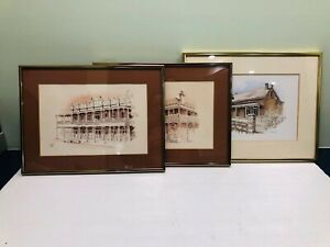 H.Nimmo Ink & Watercolour Framed Drawings x 3
