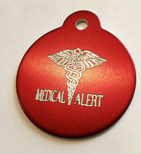 CUSTOM ENGRAVED MEDICAL ALERT ROUND TAG PERSONALIZED NAME TAGS ID CHARM