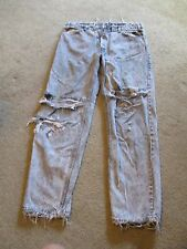TORN HOLY ACID WASH LEVI'S JEANS ROCK STAR CONCERT WORN 80's 90' TRASHED 38 X 32
