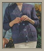 """Lady's Chunky Cardigan with Pockets Knitting Pattern 34-42"""" mens 986"""