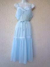 VTG 1950s NIGHTGOWN Silky Nylon Princess Cut Accordion Pleats Tiered Blue M to L