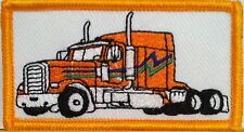 ORANGE TRUCK Color Iron-On Patch Truck Driver Emblem Gold  Border #8