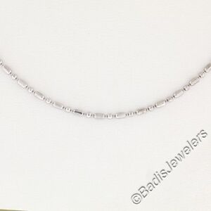 """14K Solid White Gold 16"""" Polished Faceted Bead Chain Necklace w/ Lobster Clasp"""