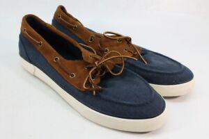 Polo Ralph Lauren Rylander Men's Blue/Brown Canvas Boat Shoe 12M