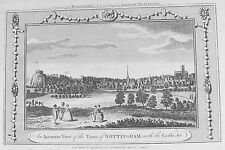 OLD ANTIQUE PRINT NOTTINGHAM TOWN CASTLE PANORAMIC VIEW c1780s ENGRAVING by HOGG
