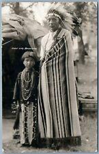 AMERICAN INDIAN CHIEF & DAUGHTER 1928 ANTIQUE REAL PHOTO POSTCARD RPPC ANTIGO WI