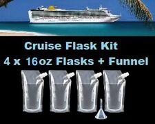Cruise Flask Kit (4x 16oz + Funnel) Smuggle Rum Alcohol Liquor Plastic Runner