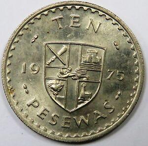 C003-95 TO 96 # GHANA   10 PESEWAS, 1975, VF+