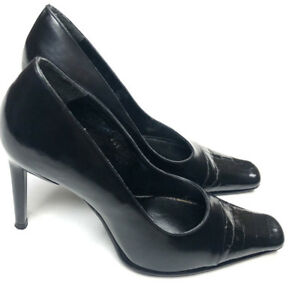 "Laura Bellariva ITALY Womens 39 Black Heels Pumps Leather Square Toe 4"""