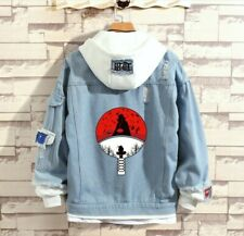 Anime Hokage Uchiha Sasuke Denim Hoodie Jean Jackets Ripped Layered Cowboy Coat