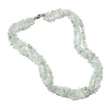 """925 Sterling Silver Blue Aquamarine Beads Necklace Gift Size 20"""" Ct 249.6"""