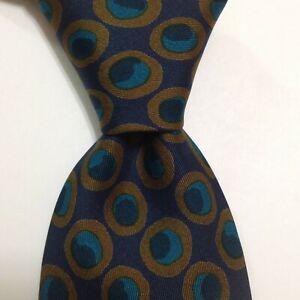 HERMES 387 EA Men's Vintage Silk Necktie FRANCE Luxury Geometric Blue/Brown GUC