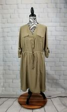 Lane Bryant women's long tab sleeves 1/2 button cinched waist dress sz 14/16 b23
