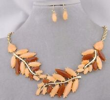 Peach Brown Leaf Necklace Earrings Set Gold Fashion Jewelry NEW