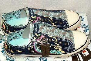 ED HARDY Laceless Low Top Shoes Men's size 11 Japan,  Navy Blue Cobra