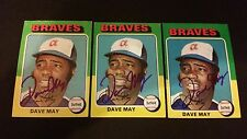 Dave May Braves 1975 Topps #650 Brewers Signed Authentic Autograph FB15