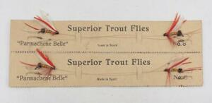 Vintage Superior Parmachene Belle Trout Flies Fly Fishing On Card Spain