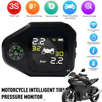 Solar Motorcycle TPMS with Compass Tire Pressure Monitor System Internal Sensor